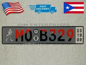 Euro License Plate Embossed Gray Background With Multi Color Numbers Tablilla