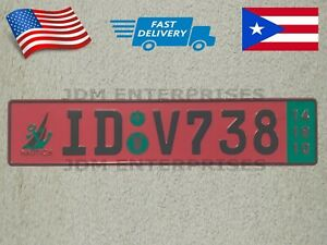 Euro License Plate Embossed Pink Background With Gray Color Numbers Tablilla