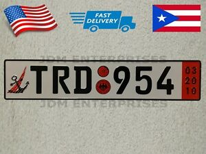 Euro License Plate Embossed White Background With Black Color Numbers Tablilla