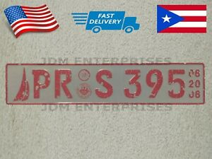 Euro License Plate Embossed White Background With Pink Color Numbers Tablilla
