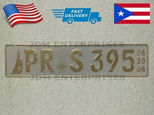 Euro License Plate Embossed White Background With Gold Color Numbers Tablilla