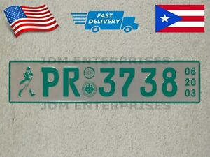 Euro License Plate Embossed White Background Turquoise Color Numbers Tablilla