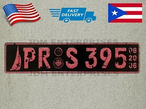 Euro License Plate Embossed Black Background With Pink Color Numbers Tablilla