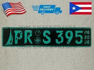 Euro License Plate Embossed White Background With Green Color Numbers Tablilla