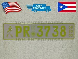 Euro License Plate Embossed White Background Neon Green Color Number Tablilla