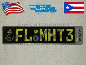 Euro License Plate Embossed Black Background With Multi Colors Number Tablilla