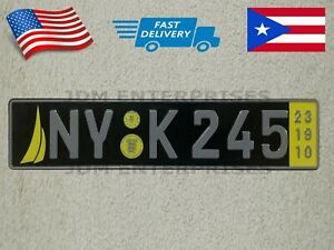 Euro License Plate Embossed Black Background With Yellow Colors Number Tablilla