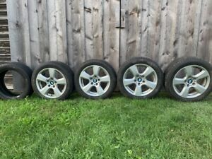 4 Bmw 5 series Wheel Rims With 4 Uniroyal Tiger Paw Tires Another Spare Tire