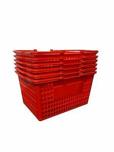 New 6 Standard Shopping Baskets Plastic Handles Red