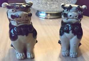 Vintage Fu Lion Foo Dog Glazed Clay Pottery Statue Duo Pair Rare