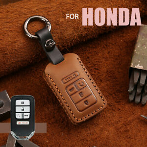 Classic Leather Key Fob Case Cover For Honda Accord Civic Pilot Crv Hrv Odyssey