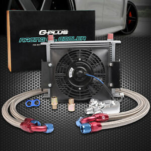 30 Row 10an Engine Transmission Oil Cooler Kit 7 Inch Electric Fan Silver