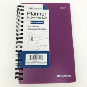2020 Planner Planahead Monthly weekly Contact Resources notes Pages 12 20 Purple