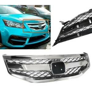 For 2011 2012 Honda Accord Sedan Chrome Abs Front Hood Honeycomb Grille Grill 12