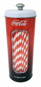 The Tin Box Company Coke 50 Coca Cola Holder Tin with 20 Paper Straws  3-3/8 ...