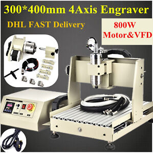 4 Axis 3040 Cnc Router Engraving Vfd Mill Engraver Metal Wood Cut Machine 800w