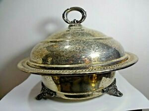 Silver Plate Covered Footed Casserole No Dish