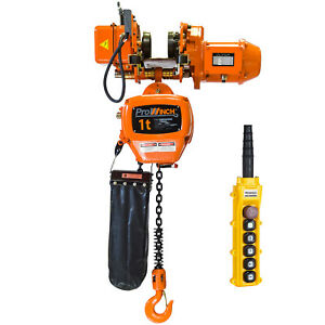 Prowinch 1 Ton Electric Chain Hoist With Electric Trolley 20ft Lifting Height G1