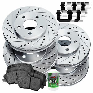 Fit 2013 2017 Honda Accord Powersport Full Kit Brake Rotors ceramic Brake Pads