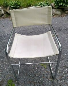 White Mid Century Modern Bauhaus Chrome And Leather Cantilever Side Arm Chair