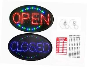 23 x14 Large Jumbo Size Led Open Closed Sign With Business Hours Sign Display