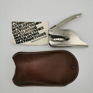 Vintage Ideal Model M Hand Seal With Leather Pouch
