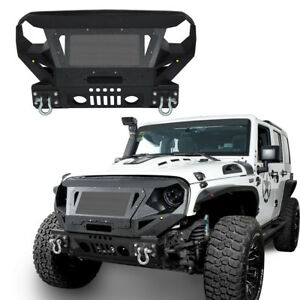 Textured Front Bumper W Grill Guard D rings Steel For Jeep Wrangler Jk 07 18