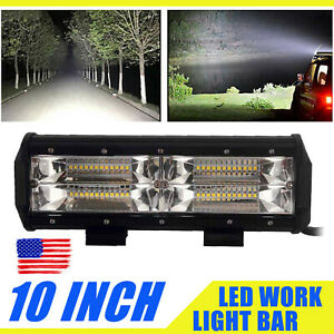 10inch Led Work Light Bar Flood Spot Beam Offroad 14400lm Suv Driving Fog Lamp