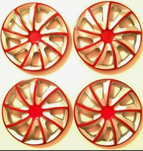 14 Wheel Covers Hubcaps Universal Wheel Rim Cover 4 Pieces Set Silver Red