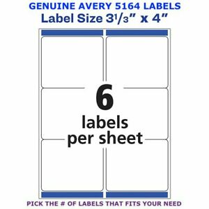 Avery Trueblock Laser Shipping Label 3 1 3 X 4 5164 Pick Your Own Of Label