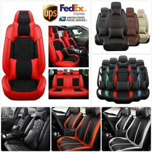 Car 5 Seats Seat Cover Protector Pu Leather Cushion Full Set Universal Interior
