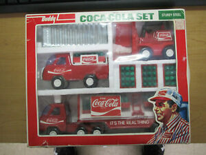 Vintage 1976 Buddy L Coca Cola Sturdy Steel set   Delivery Truck Tractor Trailer