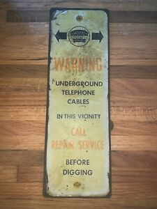 "Vintage Heavy Metal Independent Telephone Underground Cable Sign (4""x12"")"