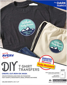 Avery 3279 Printable Heat Fabric Transfer Paper For Diy Projects On Dark Fabrics