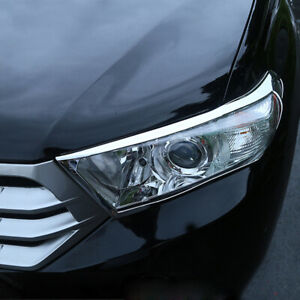 Chrome Accessories Head Light Head Lamp Cover For Toyota Highlander 2011 2013