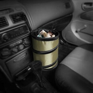 Auto Car Trash Can Portable Collapsible Waterproof Small Beige