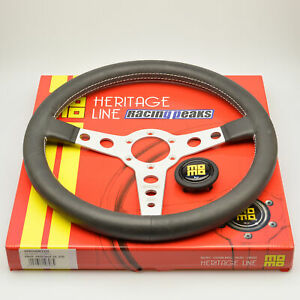 Momo Prototipo Heritage Leather Steering Wheel 350mm Silver Race Sport Tuning
