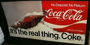 COCA COLA SIGN AUTHENTIC 1970s DELIVERY TRUCK CARDBOARD It's the real thing Coke