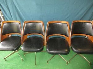 Set Of 4 Vintage Brody Seating Company Swivel Style Chairs Mcm