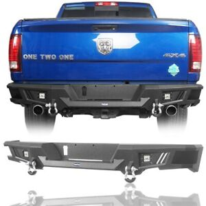 Texture Black Rear Bumper W Integrated Steps For 2009 2018 Dodge Ram 1500