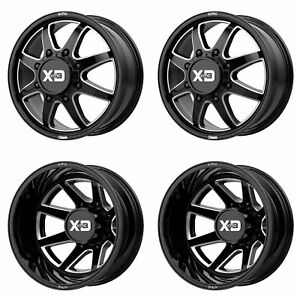 Xd845 G Blk Mil F R Dually Wheels 22 Blk Spline Lug For Chevy Silverado 3500hd