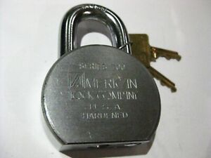 American Padlock 700 W 2 Original Keys Old Logo High Security New rekeyable