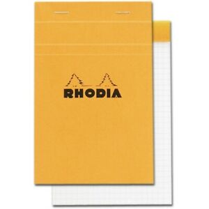 Rhodia r14200 4 3 8 X 6 3 8 Staplebound Notepad graph Paper W orange Cover