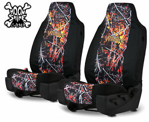 Universal Neoprene Wildfire Camo Front Seat Covers For 2 High Back Bucket Seats