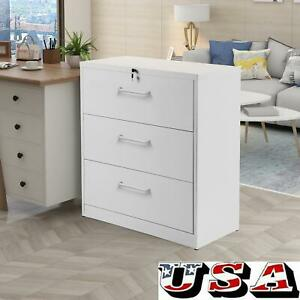 Metal Office Lateral Cabinet File Cabinet W lock 3 Drawers Anti tilt Structure