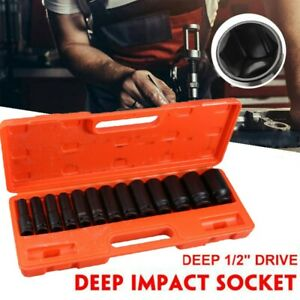 13pcs 1 2 Inch Deep Impact Socket Set Drive 8 32mm Metric Garage Sae With Case