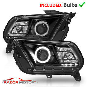 Fit 2010 2014 Ford Mustang Black Housing Halo Led Projector Headlights