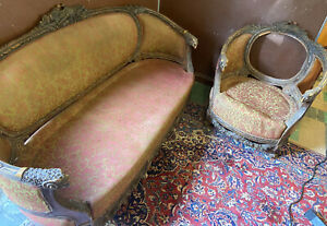Ornate French Antique 19c Italian Rococo Carved Sofa Chair W Ram Heads Doves
