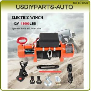 13000lbs Electric Synthetic Cable Rope Winch Truck Boat Off Road Atv Utv