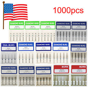 1000pcs Dental Diamond Burs 1 6mm For High Speed Handpiece 200 Boxes